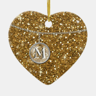 Monogram on Chain Gold Glitter MCG Double-Sided Heart Ceramic Christmas Ornament