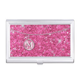 Monogram on Chain Pink Glitter ID145 Case For Business Cards