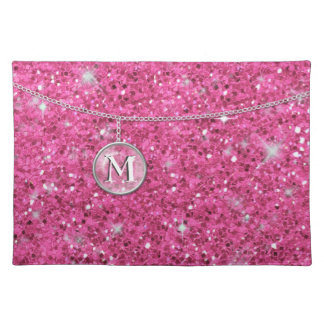 Monogram on Chain Pink Glitter ID145 Cloth Placemat