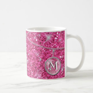 Monogram on Chain Pink Glitter ID145 Coffee Mug