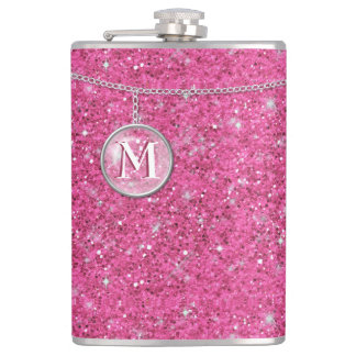 Monogram on Chain Pink Glitter ID145 Flask