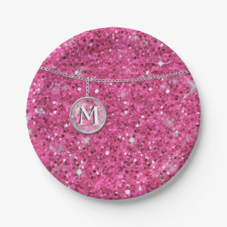 Monogram on Chain Pink Glitter ID145 Paper Plate