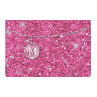 Monogram on Chain Pink Glitter ID145 Placemat