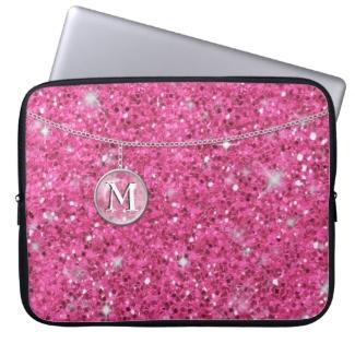 Monogram on Chain Pink Glitter MCG