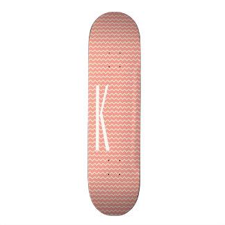 Monogram on Coral Pink Mini Chevron Pattern Skateboard Deck