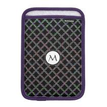 Monogram on Elegant Quatrefoil Pattern iPad Mini Sleeve
