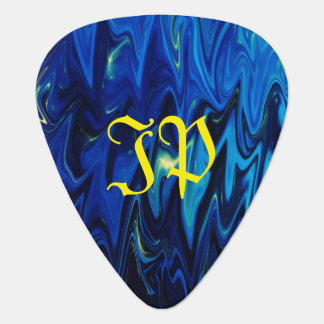Monogram on goth inspired shades of blue and black guitar pick