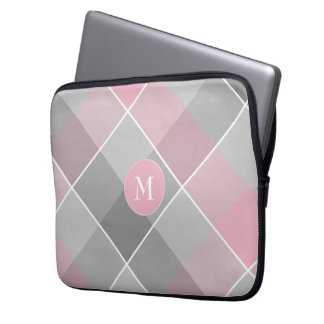 Monogram on gray and pink checkered plaid computer sleeve