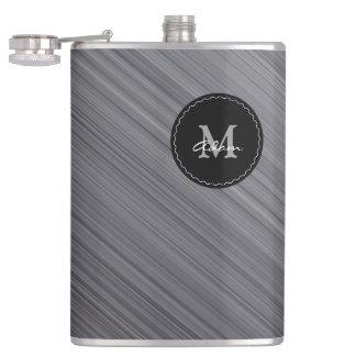 Monogram on Gray Metallic Flasks