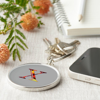 Monogram on Gray Round Keychain