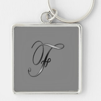 Monogram on Gray Silvery keychain