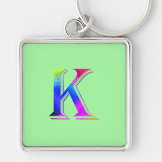 Monogram on Green Square Keychain