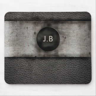 Monogram on Leather and rusted metal Mouse Pad