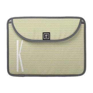 Monogram on Light Sage Green Mini Chevron MacBook Pro Sleeve