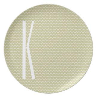 Monogram on Light Sage Green Mini Chevron Melamine Plate