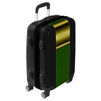 Monogram on luxury gold effect and green luggage