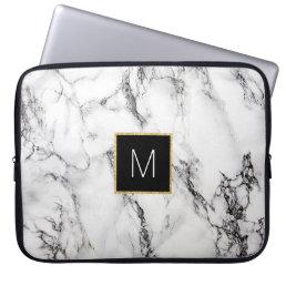 monogram on marble computer sleeve