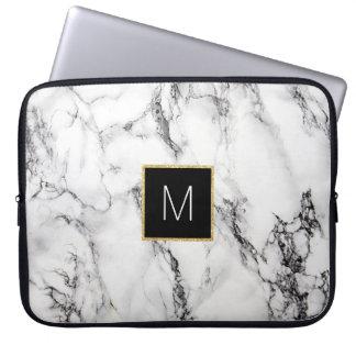 Trendy - Monogram on marble computer sleeve