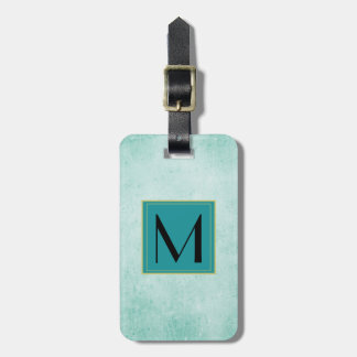Monogram on Mint Green Vintage paper texture Bag Tag