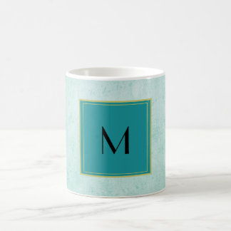 Monogram on Mint Green Vintage paper texture Coffee Mug