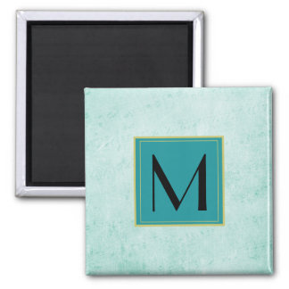 Monogram on Mint Green Vintage paper texture Magnet