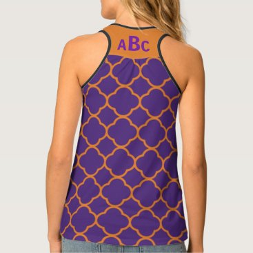 Beach Themed Monogram on Orange and Purple Quatrefoil Pattern Tank Top