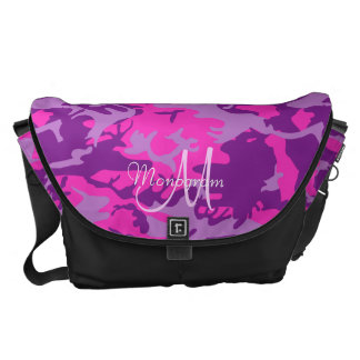 Monogram on Pink and Purple Camouflage Courier Bag