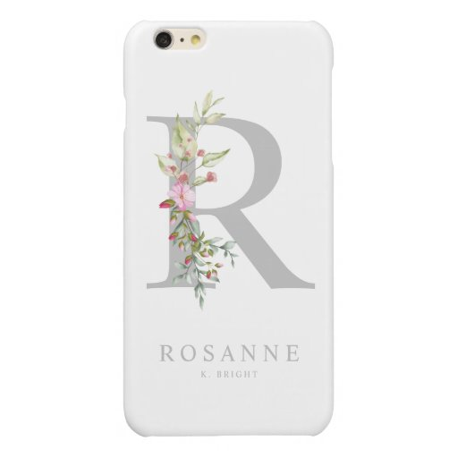Monogram on Pink Romantic Floral Initial Staff Glossy iPhone 6 Plus Case