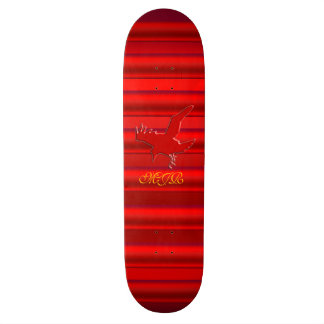 Monogram on Raven logo with red chrome-effect Skateboard Deck