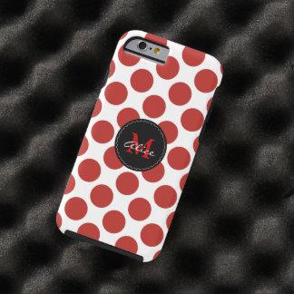 Monogram on Red White Polka Dots Pattern Tough iPhone 6 Case