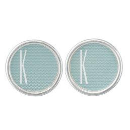 Monogram on Retro Blue Mini Chevron Pattern Cufflinks