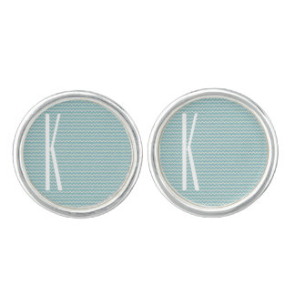 Monogram on Retro Blue Mini Chevron Pattern Cufflinks