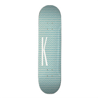 Monogram on Retro Blue Mini Chevron Pattern Skateboard Deck