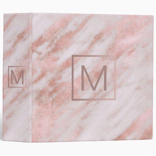 Monogram On Rose Gold Marble Binder
