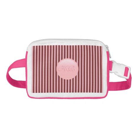 Monogram on rose pink disk and maroon stripes waist bag