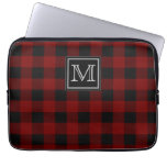 Monogram on Rugged Red and Black Plaid Laptop Computer Sleeves