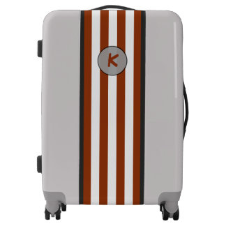 Monogram on Simple Brown Stripes on any Color Luggage