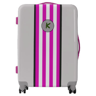 Monogram on Simple Pink Stripes on any Color Luggage