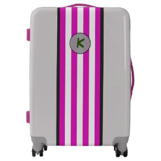 Monogram on Simple Pink Stripes on any Color
