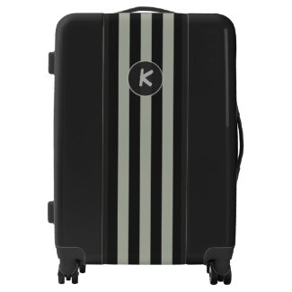 Monogram on Simple Silver Stripes on any Color