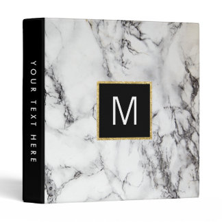 monogram on  white marble stone binder