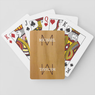 monogram on wood playing cards