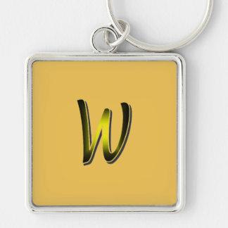 Monogram on yellow square keychain