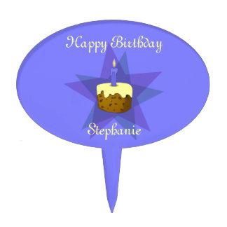 Monogram One Candle Birthday Cake Cake Topper