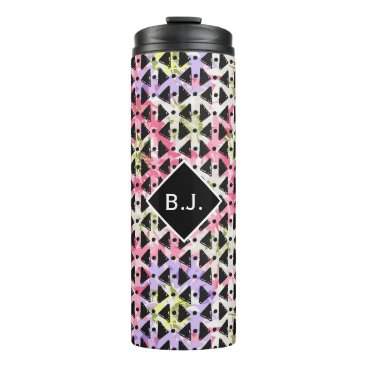 Aztec Themed Monogram open diamond weave pink and mauve drink thermal tumbler
