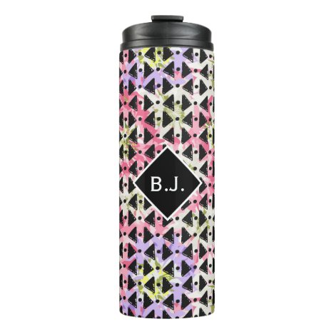 Monogram open diamond weave pink and mauve drink thermal tumbler