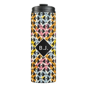 Aztec Themed Monogram open diamond weave pink yellow blue thermal tumbler