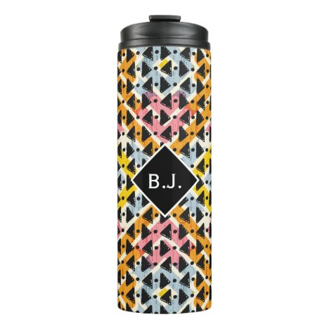 Monogram open diamond weave pink yellow blue thermal tumbler