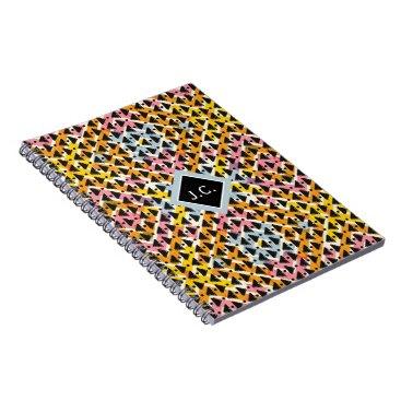 Aztec Themed Monogram open weave stylish pink blue yellow black notebook