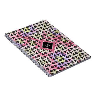 Monogram open weave stylish pink green mauve black notebook
